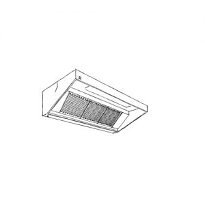 Front raised wall mounted ventilation hood with light